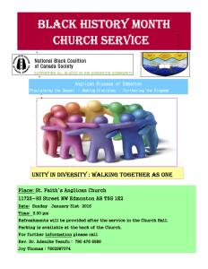 Black History Month Church Service Flyer Sunday January 31st 2016